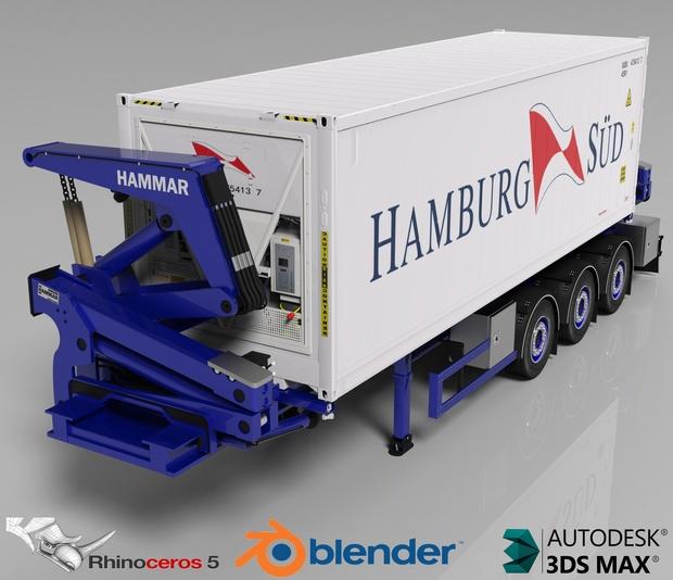 3D Hammar Self Loader Container Trailer Model