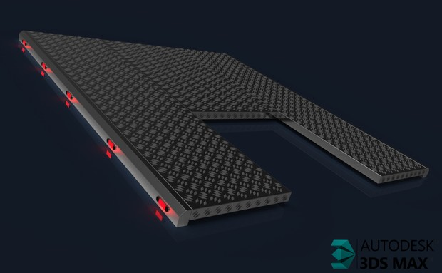3D Chromed Catwalk Model