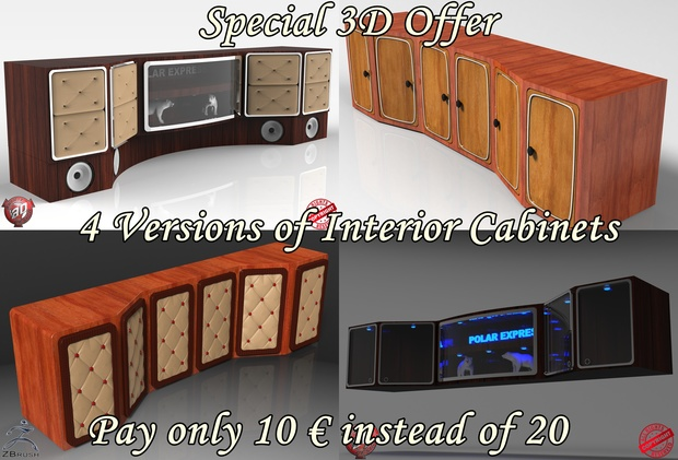 3D 4 Versions Of Interior Cabinets Pack Offer