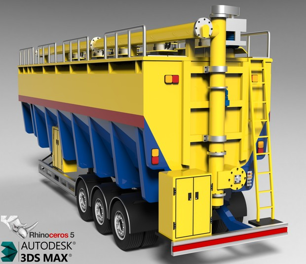 3D Bulker Feed Trailer Model