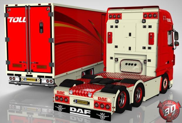 3D Combo Daf XF 105 6x2 + 2 Axles Trailer