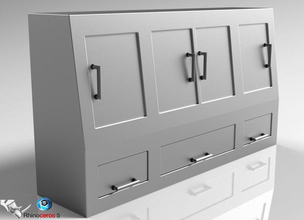 3D Chromed Lockers Model