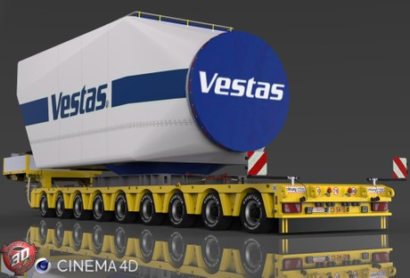 3D Doll Trailer 9 Axles Vestas Load