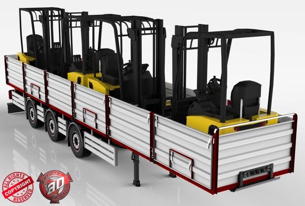 3D Opentop ForkLifts Load Trailer Model
