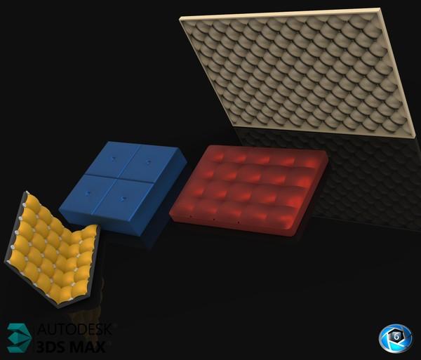 3D Pack 4 Leather Panels Model