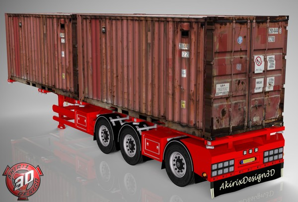 3D Container Trailer With Containers Load