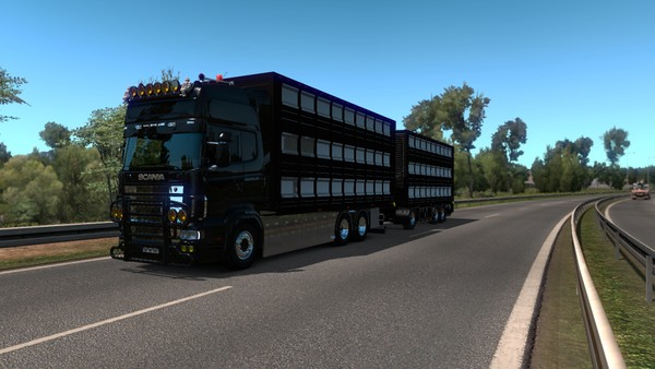 ETS2 1.35.x Tandem Livestock Add-on for RJL by Kast + Drawbar Livestock Trailer
