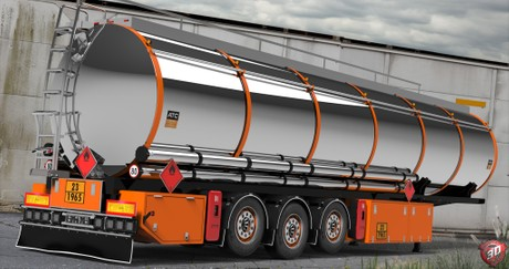 3D Chromed Fuel Cistern Trailer Model