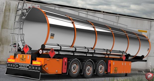3D Chromed Fuel Cistern Trailer Model
