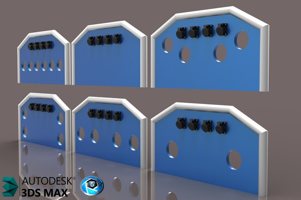 3D Cabin BackPanels With Connectors Pack
