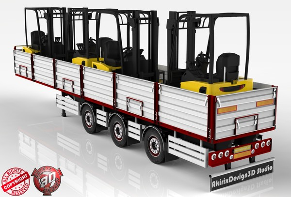 3D Opentop ForkLifts Load Trailer Model