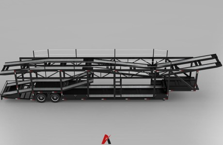 3D Car Transport Trailer Model