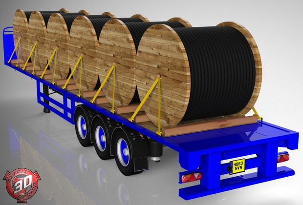 3D SDC Flatbed Cable Rollers Load