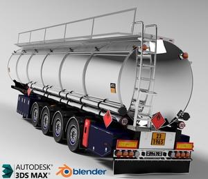3D Fuel Cistern Tanker Trailer Model