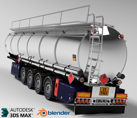 3D Fuel Cistern Tanker Trailer Model