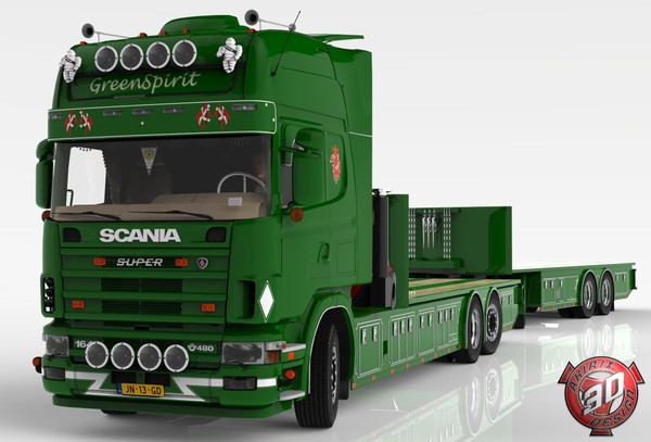 3D Scania 164L + Trailer Tandem GreenSpirit