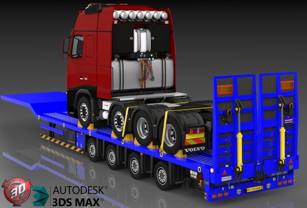 3D Platform trailer with 8x4 Volvo