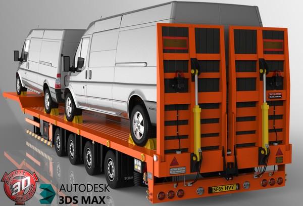 3D Platform trailer with Ford Transit Vans