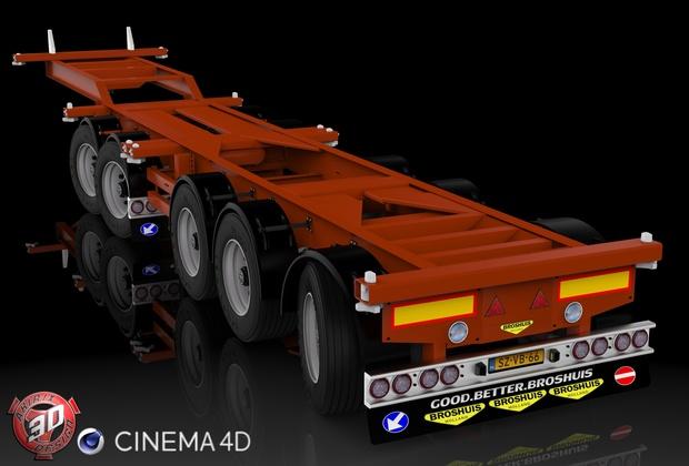 3D Broshuis Container Trailer Model
