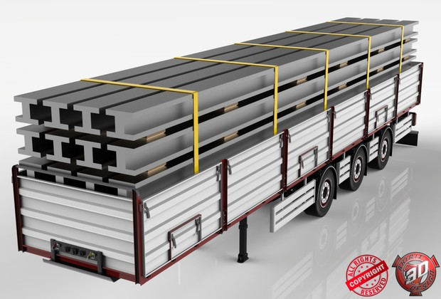 3D Opentop Trailer With Steel Beams Load