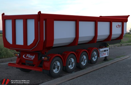 3D Fliegl Dumper Trailer Model