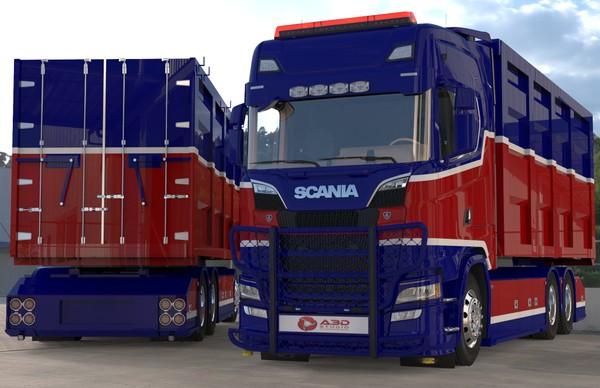 3D Scania NextGen S730 Container BDF & Trailer