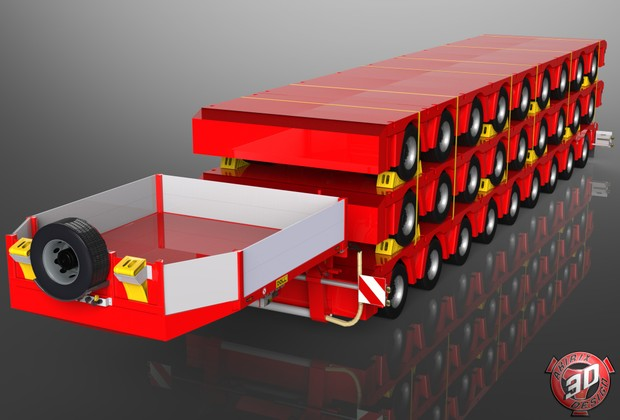 3D Doll 9 Axles Trailer Loaded with Trailers