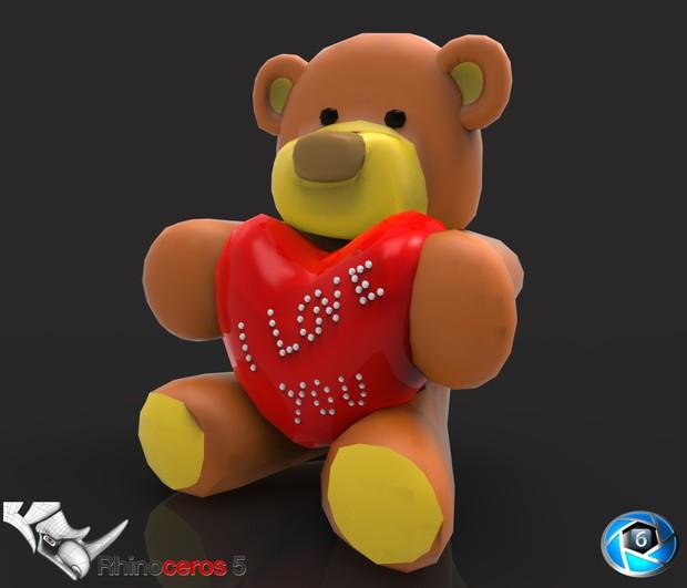 3D Teddy Bear I Love You