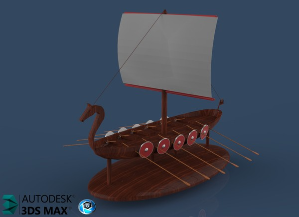 3D Viking Boat Interior Decoration Model