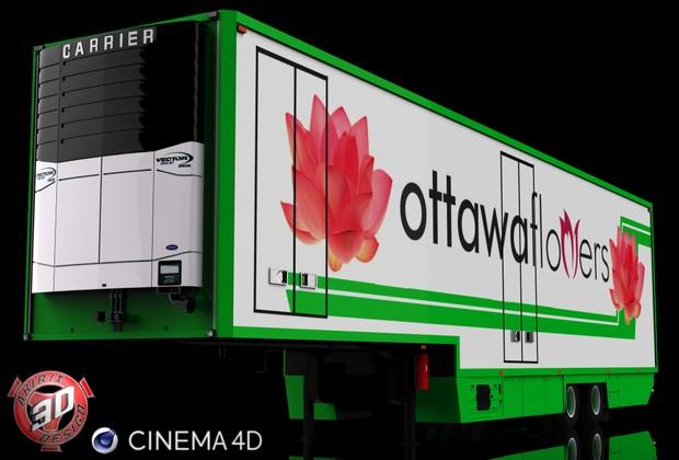 3D 2 Axles Flower Trailer
