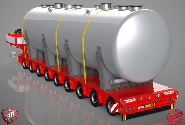 3D 9 Axled Doll Trailer With Tanker Load