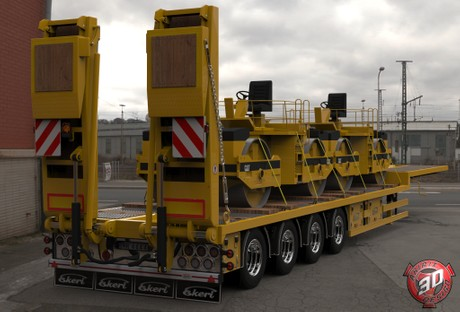 3D Ekeri Platform Trailer With Compactors Load
