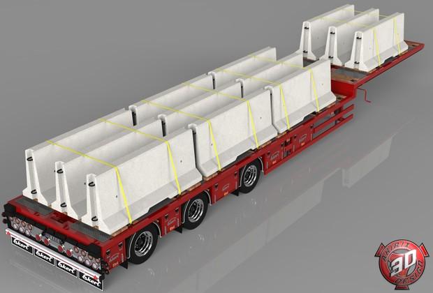 3D Ekeri Flatbed With Concrete Blocks Trailer Model