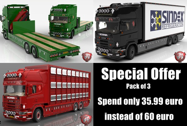 3D Scania 164L Tandem + Trailer Bundle Pack Offer