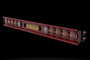 Panel with tail lights,licence plate and marker lights