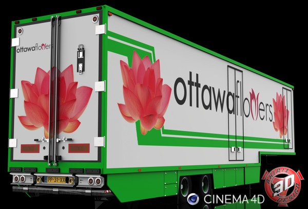 3D 2 Axles Flower Trailer