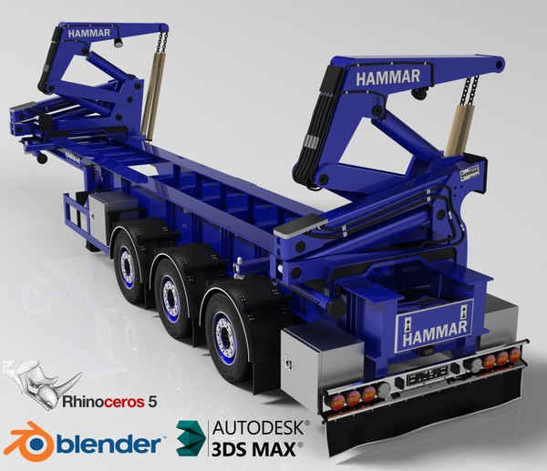 3D Hammar Self Loader Container Trailer Model