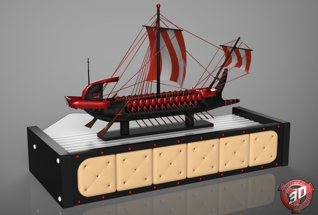 3D Scania Table With Viking Boat