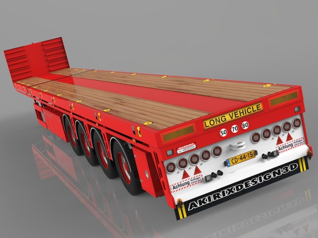 3D 4 Axled Oversize Loads Trailer Empty Version