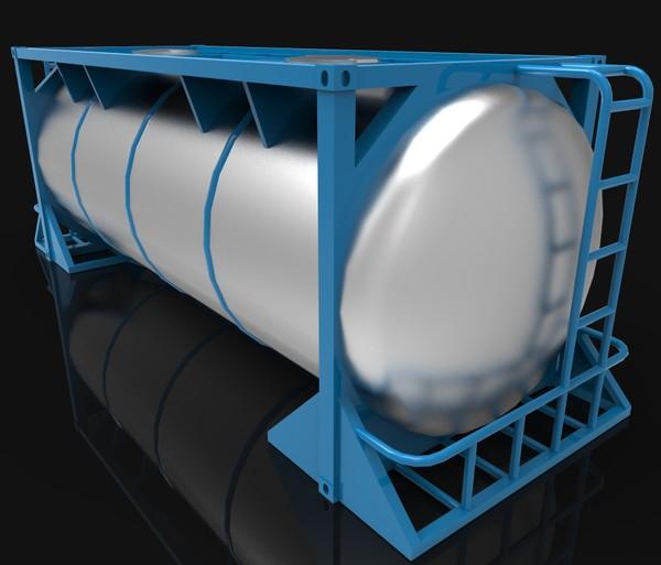 3D Container Frame 20 ft Food Transport Model