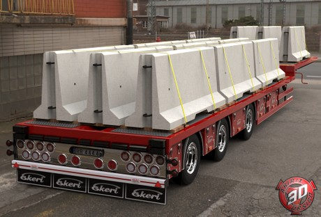 3D Ekeri Flatbed With Concrete Blocks Trailer Model