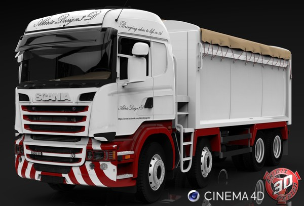 3D Scania Streamline R620 8x4 Tipper Model