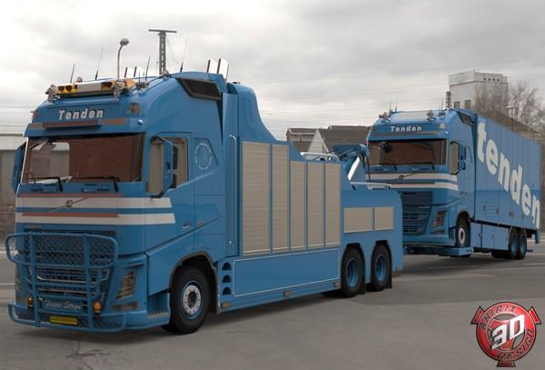 3D Volvo FH13 Wrecker + Truck Cargo Load Tenden