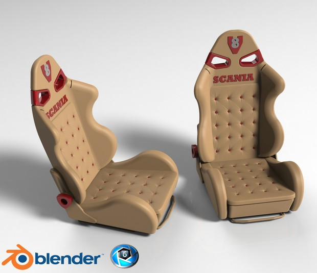 3D Leather Sport Seat Model