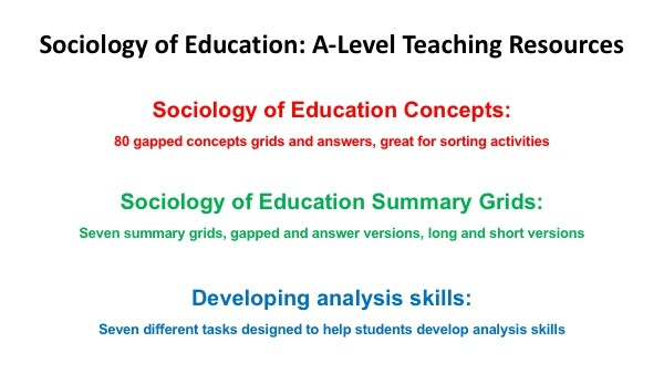 Sociology of Education A-Level Teaching Resources