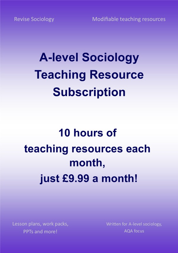 A-Level Sociology Teaching Resource Subscription