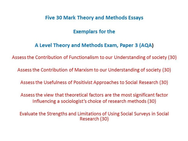 Theory and Methods Essays for the A Level Sociology Exams