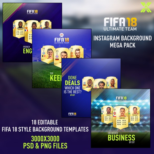 FIFA 18 INSTAGRAM BACKGROUNDS MEGA PACK