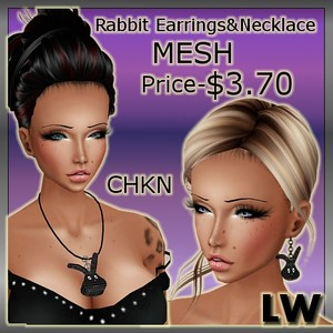 Rabbit Earrings&Necklace MESH-2 Meshes!