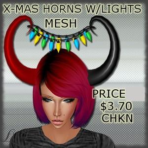 X-Mas Horns With Lights MESH